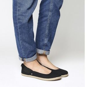 UGG Perrie Black Ballet Flats With Bow, US 5.5
